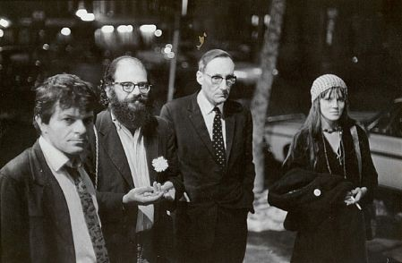 Gregory Corso, Allen Ginsberg, William Burroughs, Maretta Greer at Opening of Timothy Leary's Mediation Center, Hudson Street, February 15, 1967
