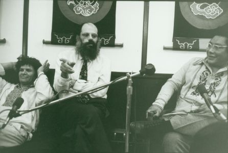 Gregory Corso, Allen Ginsberg and Chogyam Trungpa Rinpoche, Boulder, Colorado probably 1974.