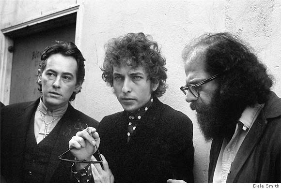 Michael McClure, Bob Dylan, Allen Ginsberg, 1965, photo Dale Smith