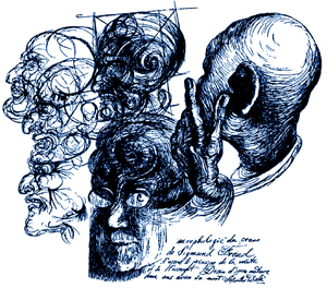 Dali, Freud Sketch.And Dali added a commentary, Leonardo-like, in which he recorded that he's sketched Freud's head based on the formation of the volute and of a snail.