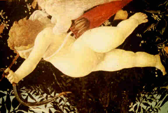 Botticelli, Cupid, blind. detail from the Primavera