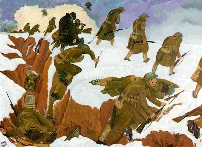 John nash, Over the Top. At the time nash was regarded as an extreme ''modernist'', '' he produced this uncompromising picture which has remained the painter's best known work and one of the most remarkable to come out of the war, revealing as it does, with methodical neutrality, the absurdity of the unprotected offensive and the certainty of not coming back alive. Even more important than the artist's style or his naked realism is the strength of conviction of a picture intended to leave a mark on the memory.''