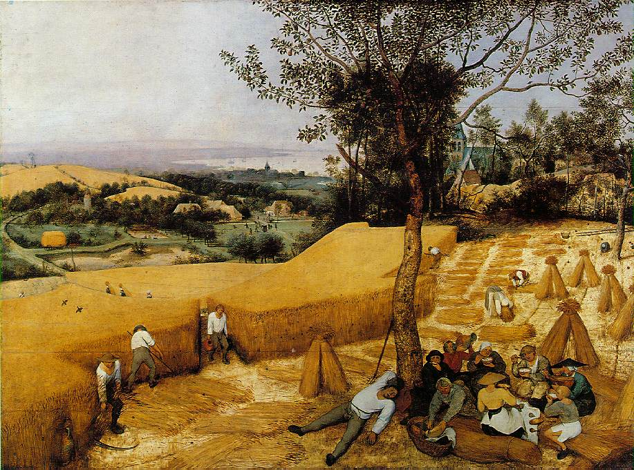 Bruegel. The Harvesters. 1565. The religious pretext for landscape painting has been abandoned, replaced by a new humanism.