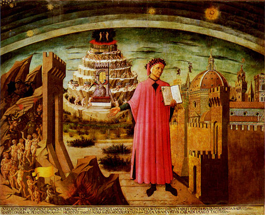 Dante. Michelino painting. 1465. One of the earliest individualized portraits of Dante.