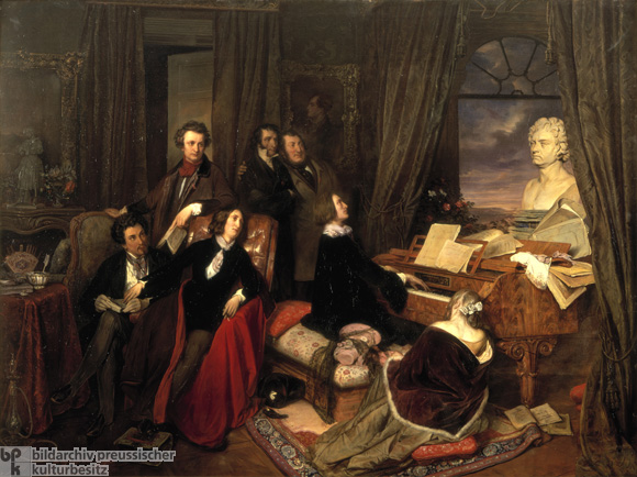 Franz Liszt (1811-1886), Hungarian composer and pianist, plays for Alexander Dumas (the Elder), Aurore Dupin (George Sand), and the Countess Marie d'Agoult (all seated), Hector Berlioz, Niccolò Paganini, and Giacomo Rossini (standing). A bust of Beethoven by Anton Dietrich sits atop the piano and a portrait of Lord Byron hangs on the wall. Painting by Josef Danhauser, 1840.