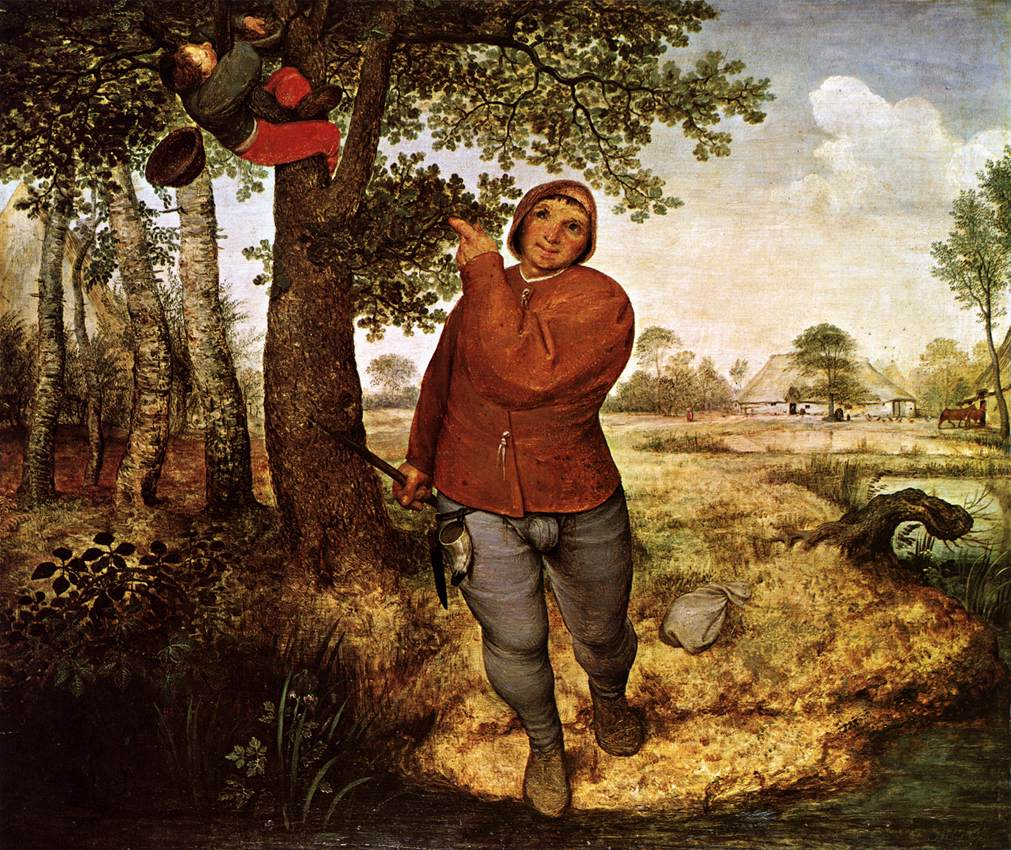 Bruegel. Peasant and Bird Nester. 1568.''...presents a moment of transformation associated with the biblical narrative of the Fall of Man. In this context, incomplete actions are held within a larger pattern of divine justice and promised redemption. During the turbulent 1560s, for a contemplative viewer, such representations of change as a phase in the cycle of becoming rather than an irredeemable rupture served to reaffirm the possibility of controlling spiritual and political chaos.''