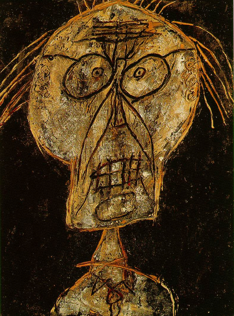 Jean Dubuffet.'' His thick, mud-colour asphalt paintings - what Davies calls his 'grungier ones' - which, in the mid-1940s displayed a sad tendency to melt in the overheated New York flats where they found homes, are just one example of how much Dubuffet's work embodies (like Marcel Duchamp's snow shovel) the prospect of their self-destruction and inevitable failure. The question of failure became central for Dubuffet from the moment he began, in the late 1940s, to hail Art Brut as the only true form of artistic creation.''