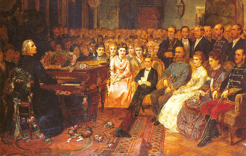 Franz Liszt playing for Emperor Franz Joseph … … and Empress Elisabeth in the Redoute of Buda. Replica by Franz Schmaus and Karl Lafitte.