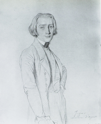 A debonair young aesthete. Liszt posed in 1839 for this sketch by Ingres