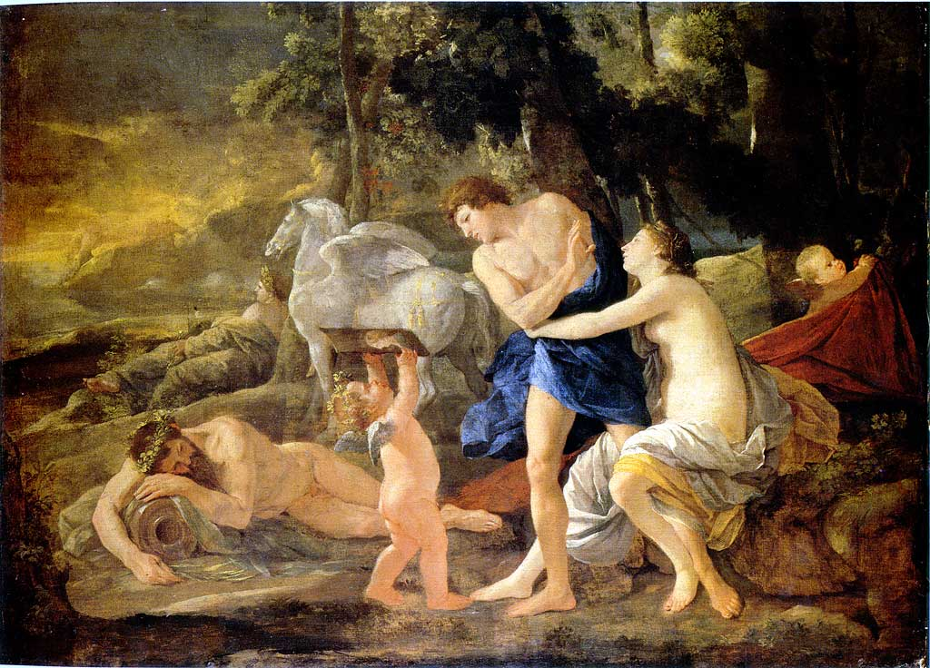 Cephalus and Aurora. Nicolas Poussin. 1627-30.''Aurora, goddess of dawn, fell in love with the mortal Cephalus and tried to seduce him. He thought only of his wife Procris and rejected her. Poussin shows the cause of Cephalus' rejection of Aurora through the putto holding up Procris' portrait, a detail not included in the best-known version of the story in Book 7 of Ovid's 'Metamorphoses'.''