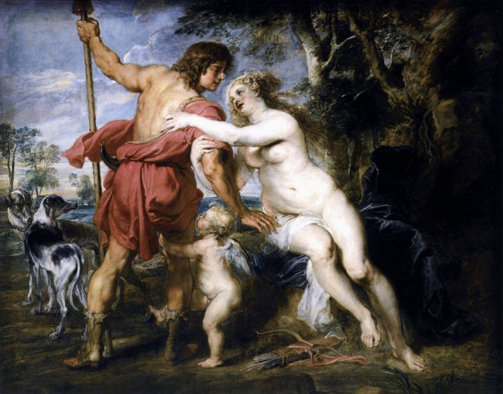 Venus and Adonis. 1635.Pieter Pauwel Rubens. Venus and Adonis.''The story, which has attracted not only artists but poets, including Shakespeare, tells that Adonis was the offspring of the incestuous union of King Cinyras of Paphos, in Cyprus, with his daughter Myrrha. His beauty was a byword. Venus conceived a helpless passion for him as a result of a chance graze she received from Cupid's arrow (Ovid: Metamorphoses). One day while out hunting Adonis was slain by a wild boar, an accident Venus had always dreaded. Hearing his dying groans as she flew overhead in her chariot, she came down to aid him but was too late. In the place where the earth was stained with Adonis' blood, anemones sprouted.''