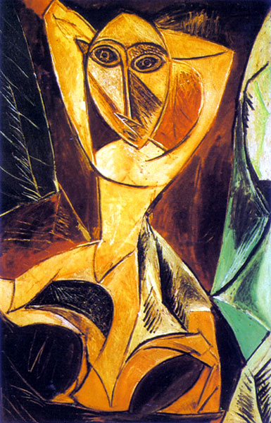 Picasso. The Dancer. 1907. Dancer reflects the impact of African sculpture and is the masterpiece of the Black period, marked by a shift from moody romanticism to barbaric vigor.