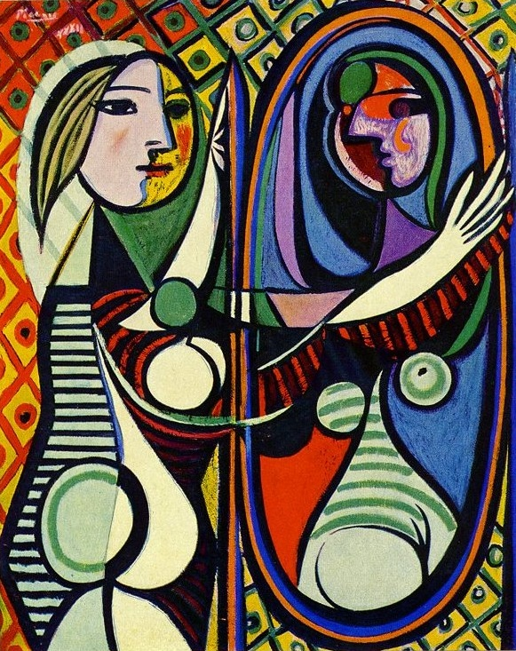 Picasso. Girl Before a Mirror,1932. This work combines in one complex image two extremes of his style; the revolutionary and, in the girl's pure classic profile, the traditional.