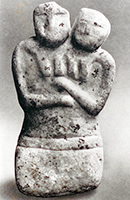 '' Female couple. Marble, height 16.4 cm. Catal Huyuk/Anatolia, Turkey, 5,800 BC.''