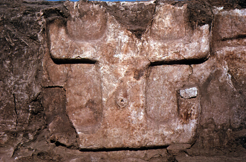 ''Figure 2: Wall relief found by James Mellaart, and often interpreted as a goddess.''