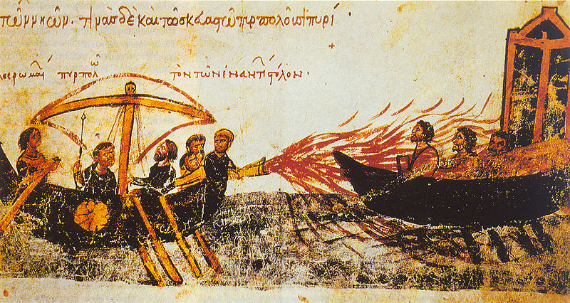 One explanation for the long persistence of the Byzantine Empire was its possession of a secret weapon ''Greek fire'', and its use anticipated the modern flame thrower. Skylitzes manuscript. John Skylitzes.