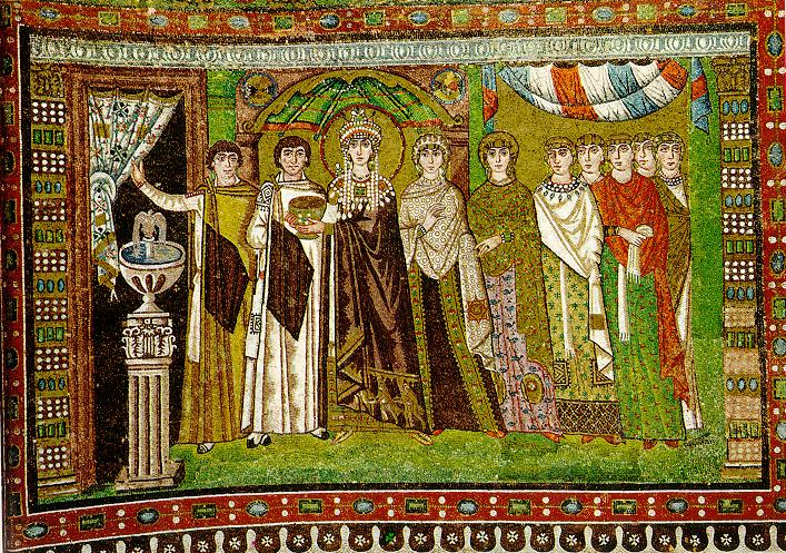 Ravenna Mosaics. In this stiffly regal portrait of Theodora there is little to suggest her beginnings as the daughter of a bearkeeper in the Hippodrome and as the sixth century equivalent of a show girl.e