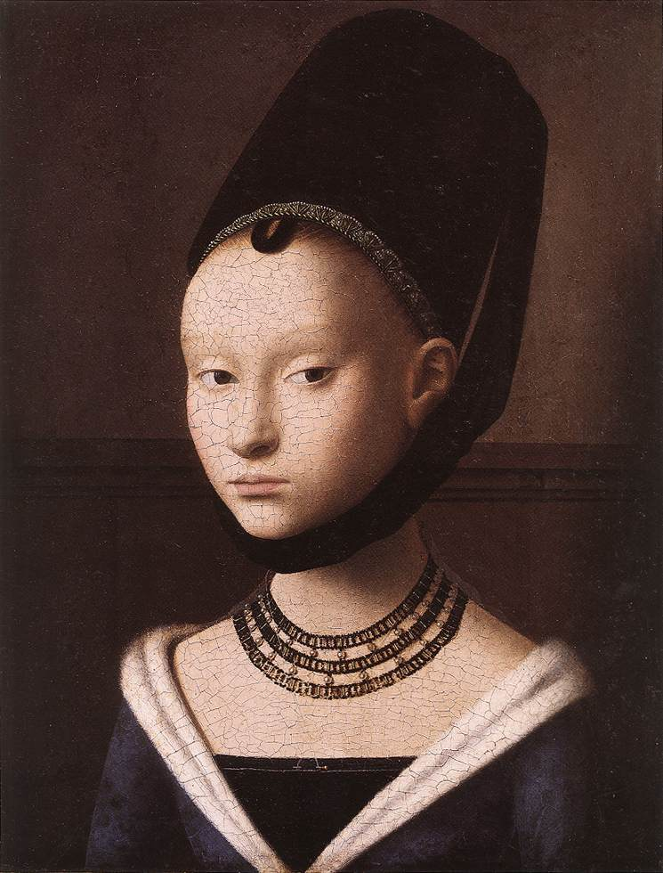 Petrus Christus. ''The surface has the brilliance of porcelain and the purity of the overall effect looks forward to Vermeer. The lively expression of the girl and her oblique glance, suggesting that something or someone just outside the frame has caught her attention, contrasts with the frontal composition.''