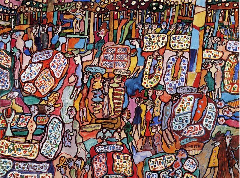 ''Jean DUBUFFET, Galeries Lafayette, 1961, gouache sur papier''