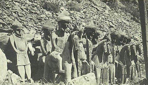''The expressive wooden figures were meaningful in a social context. They symbolized social status of prominent individuals or represented deities. A mounted horseman seated on a twin-headed animal represented the highest status achievable for a tribe member and was earned either by throwing lavish feasts to at least one village or by becoming a successful assassin. ''