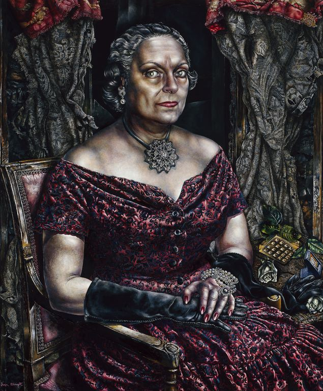 ''Portrait of Mary Block, 1955-57  Oil on canvas 99.4 x 76.2 cm (39 1/8 x 30 in.) Signed lower left: Ivan Albright Gift of Mary and Leigh Block, 1959.7''