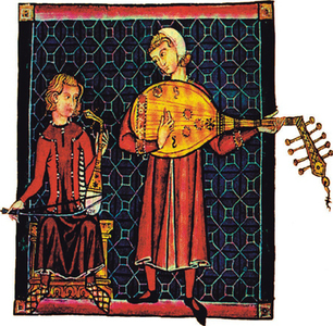 ''Musicians with their instruments. Miniature from a song book of the 13th century.''