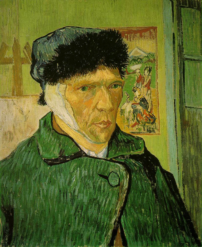 1889.'' The hat is hiding away his hair or lack thereof, and keeps his image of himself as a monk uncertain at this time. Van Gogh is no longer sure whether he is persevering through his suffering with the resolve of a Buddhist, and thus creates an ambiguous identity in this self-portrait. It is possible he does not want to show the monk's defeat, and is not willing to reveal that he no longer can follow the Buddhist beliefs.''