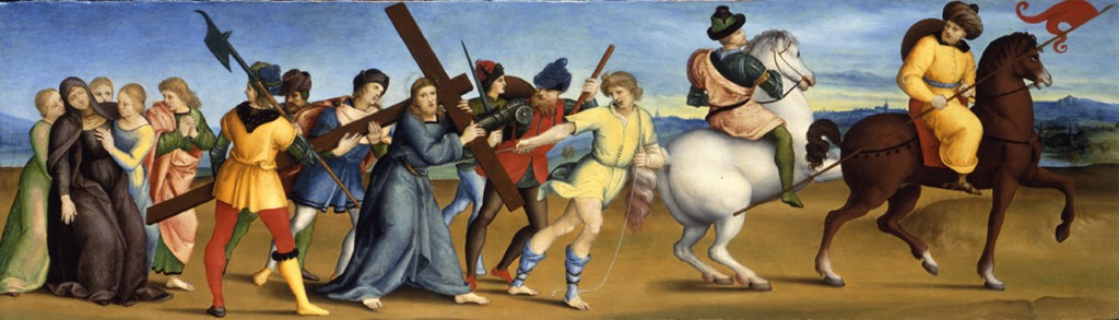From a Perugian mannery Christina brought five altarpiece panels by Raphael, who was her favorite artist. Above is The Procession to Calvary