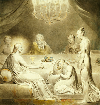 William blake. Martha and Mary. '' Blake believed in the equality of the sexes, and perhaps he emphasizes this by depicting more women than men at the dinner in Martha's house. Blake also vigorously opposed scientific materialism, part of which argued against the unprovable existence of a  supernatural deity, in other words, God.''