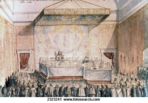 While other guests stand around hungry, Christina dines sumptuously with Pope Clement IX under his canopy. But she had to sit at a lower table.