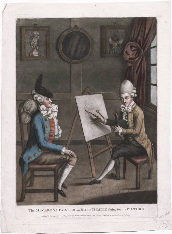 Robert Dighton, 1772. ''The Macaroni Painter is Richard Cosway, R.A., known for his foppish dress. The sitter, in full Macaroni regalia, appears entirely satisfied with himself.''