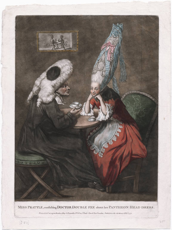 Carrington Bowles. 1772. ''Both the lady in her enormous pyramid of hair and the good doctor in his legal wig and gown are slyly reflected in the picture on the wall above them of two monkeys taking tea.''