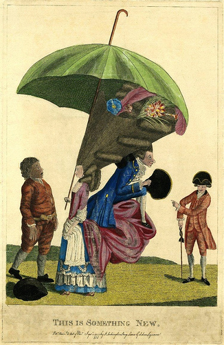 ''Published by J Lockington in 1777, this etching shows a lady with her hair in a gigantic pyramid, protected by an enormous umbrella on a very long stick. Her draped over-skirt projects at the back in mountainous folds (support known as the 'corks's rump'). On these is seated a foppishly dressed man taking shelter under the projection of her hair. A simple countryman, whose hat has fallen to the ground, gapes at the pair in amazement. A fashionably dressed man on the right leers and points at them.''