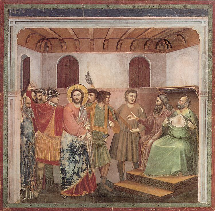 Giotto. Christ Before Caiaiphas. ''After His arrest Christ is brought before Caiaphas for questioning. He is accused of blasphemy, a crime punishable by death. Christ finally turns His head and looks back. Christ had always been facing the right. Now He seems to be looking back on the world that has brought Him here.''