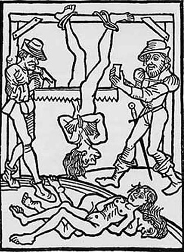 "''Today's ""sanctioned"" torture techniques are designed to cause psychological or emotional distress, with some limited physical hardship. But the devices used in the Middle Ages were truly frightening to behold, and there were more than a few people in those days who enjoyed conjuring the most gruesome devices.''"