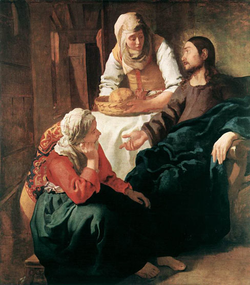 Jan Vermeer. Christ in the House of Martha and Mary