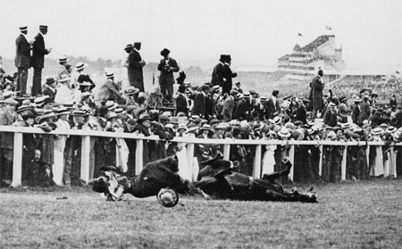 Derby Day, 1913: Emily Davidson throws herself under the King's horse, Amner, at Epsom. Photo: Arthur Barrett/Hulton. For a gallery of archive pictures marking the 90th anniversary of the suffragettes' campaign,