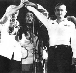 ''The concert's high point was Bob Marley calling the leaders (Michael Manley & Edward Seaga) of both parties on stage, where he had them shake hands, then he held their hands together aloft in the air for the audience to see.''