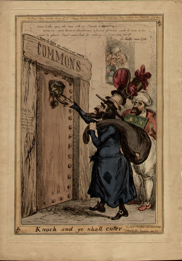 William Heath. A stereotypical Jewish merchant is knocking at the door of the 'Commons' asking to be allowed in. From a window above three men look out, one is a Jesuit and another a fat monk look down with disapproval. Catholic emancipation had raised the hopes of Jewish emancipation, and this is one of the more desirable images on this subject.