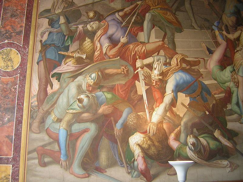 Battle between Nibelungs and Huns, Detail of a frescoe in the Nibelung Halls in Munich, Germany. Wikipedia