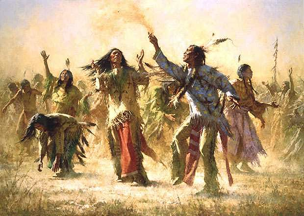 Hope Springs eternal. Howard Terpning.As a result, the Ghost Dance religion swept the Great Plains like wildfire. The Indians' culture had been destroyed by the white man and the Indians were ready to grasp at any straw that would promise a return to the old ways. By 1890, most tribes were practicing the religion, which prophesied that all the buffalo would reappear, the white man would vanish and all the Indian dead would come back to life.  It was said that the Ghost Dance shirts and dresses would protect the wearer from white men's bullets, but at the Wounded Knee massacre, the Indians discovered that the garments gave no protection. After that tragedy, their last hope was destroyed and they lost heart.
