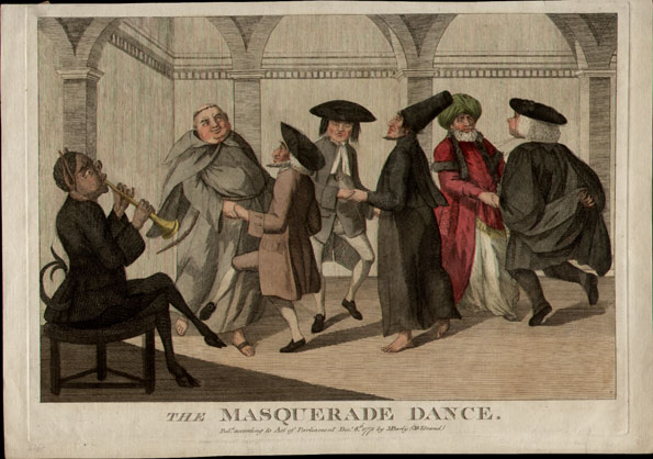 Published by M. Darly (30 Strand), December 8th 1771. 13¾ x 10. An engraving, with good original colour. Very small margin to the top reasonable margins to the sides, on laid watermarked paper. The masqueraded figures include a tonsured Roman Catholic monk, a Jew and a Turk. All are dancing to the tune of a cloven-footed devil. This print provides a visual echo of the phrase 'Jews, Turks, Infidels and Heretics', first found in the book of common prayer.