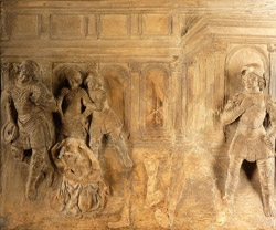 ''Details of the terracotta plaque's provenance remain hazy. It was recorded in 1894 as belonging to an official at the Austro-Hungarian embassy in Rome and appeared at auction in Vienna in 1926 as part of the Castiglioni Collection.''