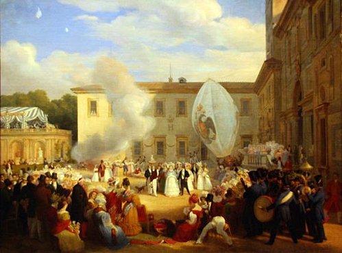 ''Le 29 avril 1829, alors qu'il est ambassadeur de France à Rome, Chateaubriand reçoit dans les jardins de la villa Médicis, Institut de France, la grande duchesse Hélène de Russie. La fête est grandiose, et il dira que c'est la réception la plus grandiose et la plus réussie qu'il ait eu l'occasion d'organiser. Le tableau est de Louis Dupré (1789-1837).''