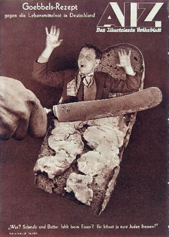 ''A 1935 photomontage by John Heartfield depicts a Nazi knife spreading a screaming Jew across a piece of bread, turning his body into butter. The headline describes the image as a recipe of Josef Goebbels, the Nazi propaganda minister.  As might be expected, Heartfield's work got him into serious trouble with the Nazis. In April 1933, Heartfield narrowly escaped arrest by the Gestapo. The artist, who was only slightly taller than 5 feet, climbed out of his apartment window and hid inside a scrapped barbershop sign on a neighbor's ground-floor patio,...''