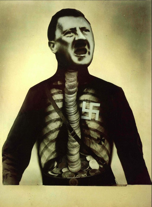 www.towson.edu .John Heartfield ''July 17, 1932 This piece was used as an anti-Hitler poster in the 1932 election. It refers to the financial backing Hitler received from wealthy industrialists who feared Germany would vote for a Communist government.''