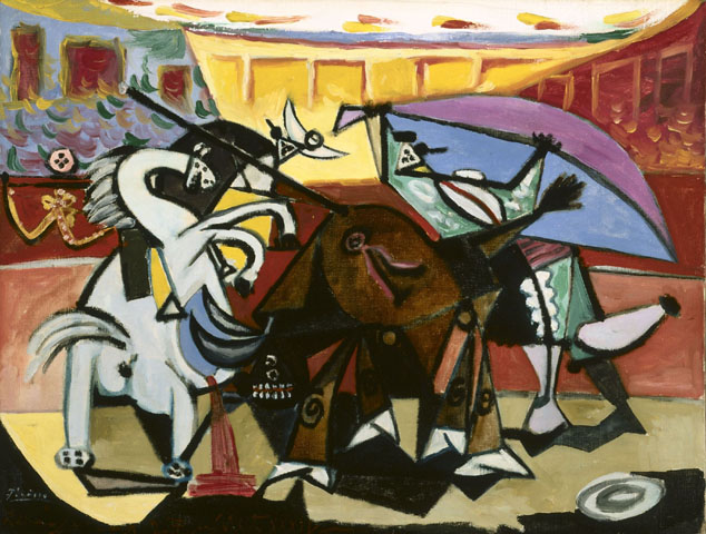 "Picasso. The Bullfight. ""He can who thinks he can, and he can't who thinks he can't. This is an inexorable, indisputable law.""-Picasso"