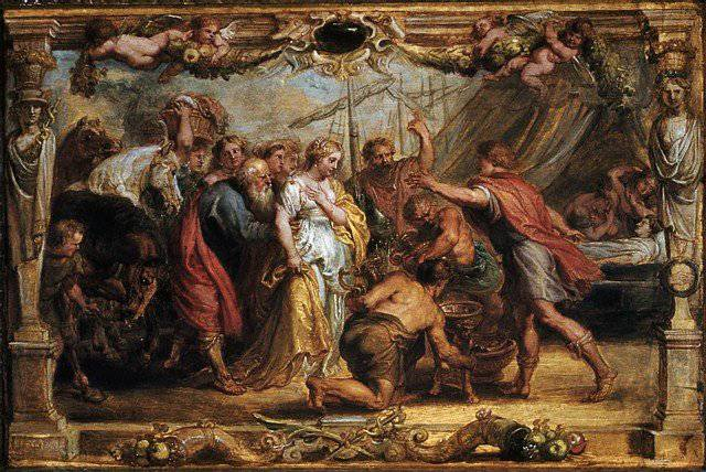 ''Agamemnon was glad to have Achilles back and showered him with rewards, including the return of Briseis, the girl who had been taken from him after their initial argument. Rubens depicted this scene, as well as the final battle of Achilles and Hector. But after killing him, Achilles was still enraged, and abused the body of Hector by dragging it behind his chariot around the walls of Troy.''
