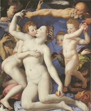 "Name:""Allegory of Love"" Museum:National Gallery, London, England Artist and Year:Bronzino,ca.1545 Theme:Goddess Aphrodite in an intimate scene with Eros, in a painting symbolizing carnal Love."