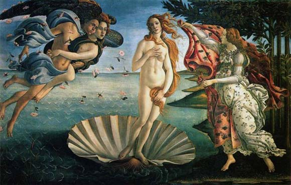 Aphrodite was painted by Sandro Botticelli. Its title is The birth of Venus. (Venus was the Roman name for the Greek goddess Aphrodite.)